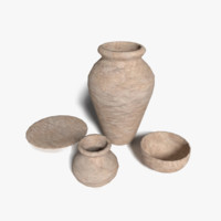 clay pots urns 3d 3ds