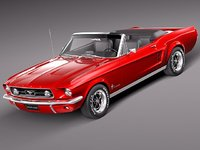 3d model mustang 1967 antique convertible