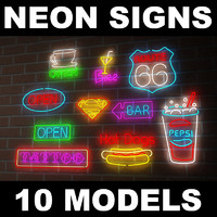 neon signs light 3d model
