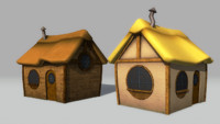3d model of cartoon cottage