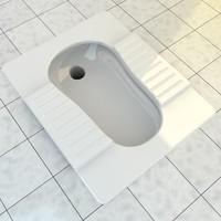 3d realistic squat toilet