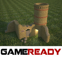 brick tower medieval 3d model