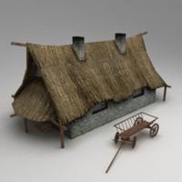 3d village house model