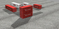 container teu 20ft 3d 3ds