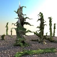 3d set dry trees model