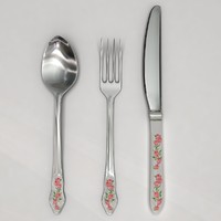 Cutlery Flatware Roses Theme Set