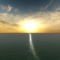 3d sunrise sea