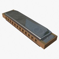 chromatic harmonica 3d obj