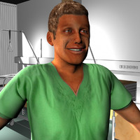 male medical staff 3d model