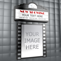 3d movie theater marquee poster model