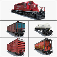 3d cargo train locomotive cars model