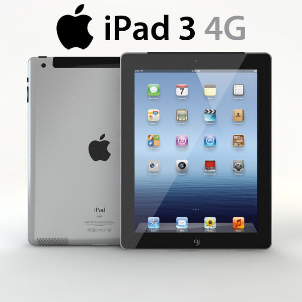3d 3ds realistic apple ipad 3 - Realistic Apple iPad 3 4G 3G Wifi Pack with Smart Cover & ... by Studio 3D Plus