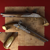 3d model of old pistol