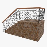 wrought iron stair railing obj