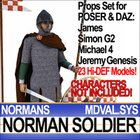 Props Set Poser Daz for Medieval Soldier Norman
