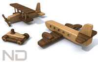 toy automobile biplane 3d c4d