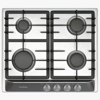 3d model small cooktop gas rings