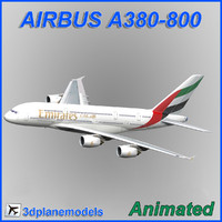 airbus a380-800 aircraft landing 3d model