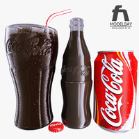 3d photorealistic coca cola glass bottle