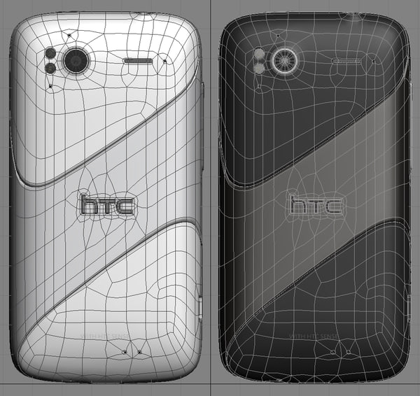 3ds max htc sensation black white - HTC Sensation black and white version... by iljujjkin