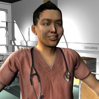 3d male medical staff model