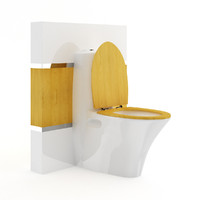 Toilet Bowl with Wooden Elements