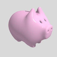 cute piggybank pink 3d 3ds