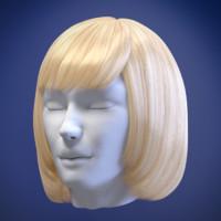 3d model woman hair