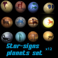 3d model signs zodiac planet star