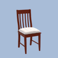 modern wooden chair cushion obj