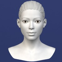 3d obj realistic asian female head anatomy