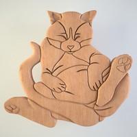 3d model cat wood