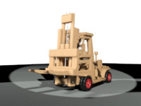 3d wooden toy forklift truck
