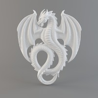 3d bas-relief dragon