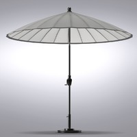 Crate and Barrel - Round Sunbrella Stone Garden Umbrella with Frame