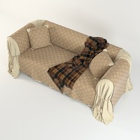3d draped couch plaid