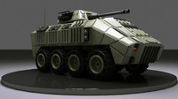 3d military 8 wheels vehicle