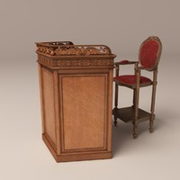 3dsmax old wood tribune chair