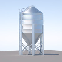 3d model chicken silo feed