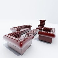 chesterfield sofa set 3d obj