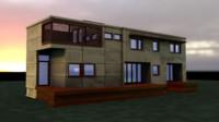 modern green house 3d c4d