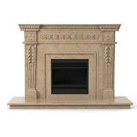 3d model classic marble fireplace