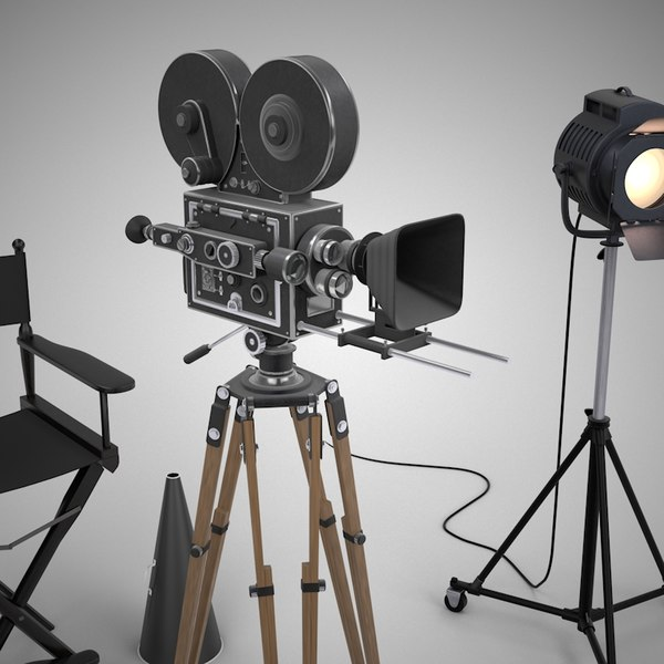 Directors chair spotlight - 3d Filming Director Movie Camera