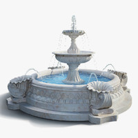3d fountain exterior water