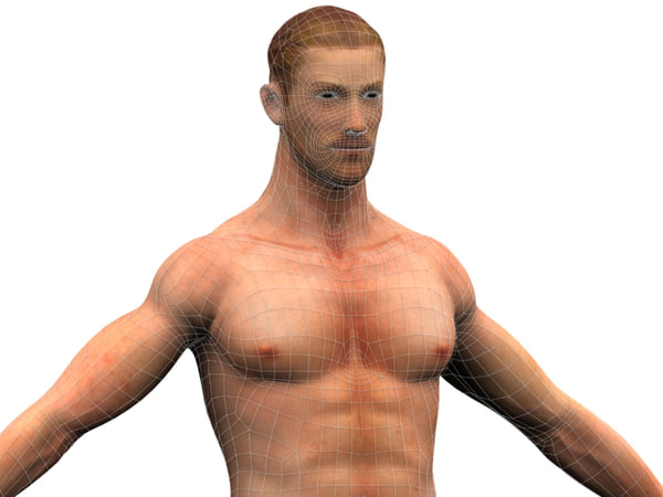 3d model of modeled rigged - Male Character... by Exomedia