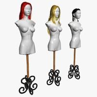 wigs hair hairstyles 3d model