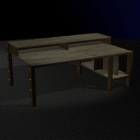 free 3ds mode large wooden desk retro