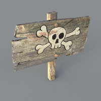 3d old wooden danger sign model