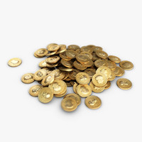 3d small heap gold coins model