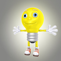 cartoon lamp bulb light 3d max